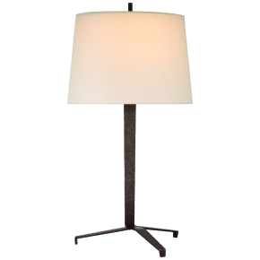 Francesco Large Table Lamp in Aged Iron with Linen Shade