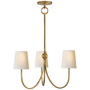 Reed Small Chandelier in Hand-Rubbed Antique Brass with Natural Paper Shades