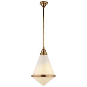 Gale Large Pendant in Hand-Rubbed Antique Brass with White Glass