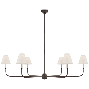 Piaf Grande Chandelier in Aged Iron and Ebonized Oak with Linen Shades