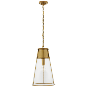 Robinson Large Pendant in Hand-Rubbed Antique Brass with Clear Glass
