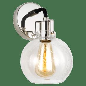 Clara 1 - Light Sconce Polished Nickel/Textured Black