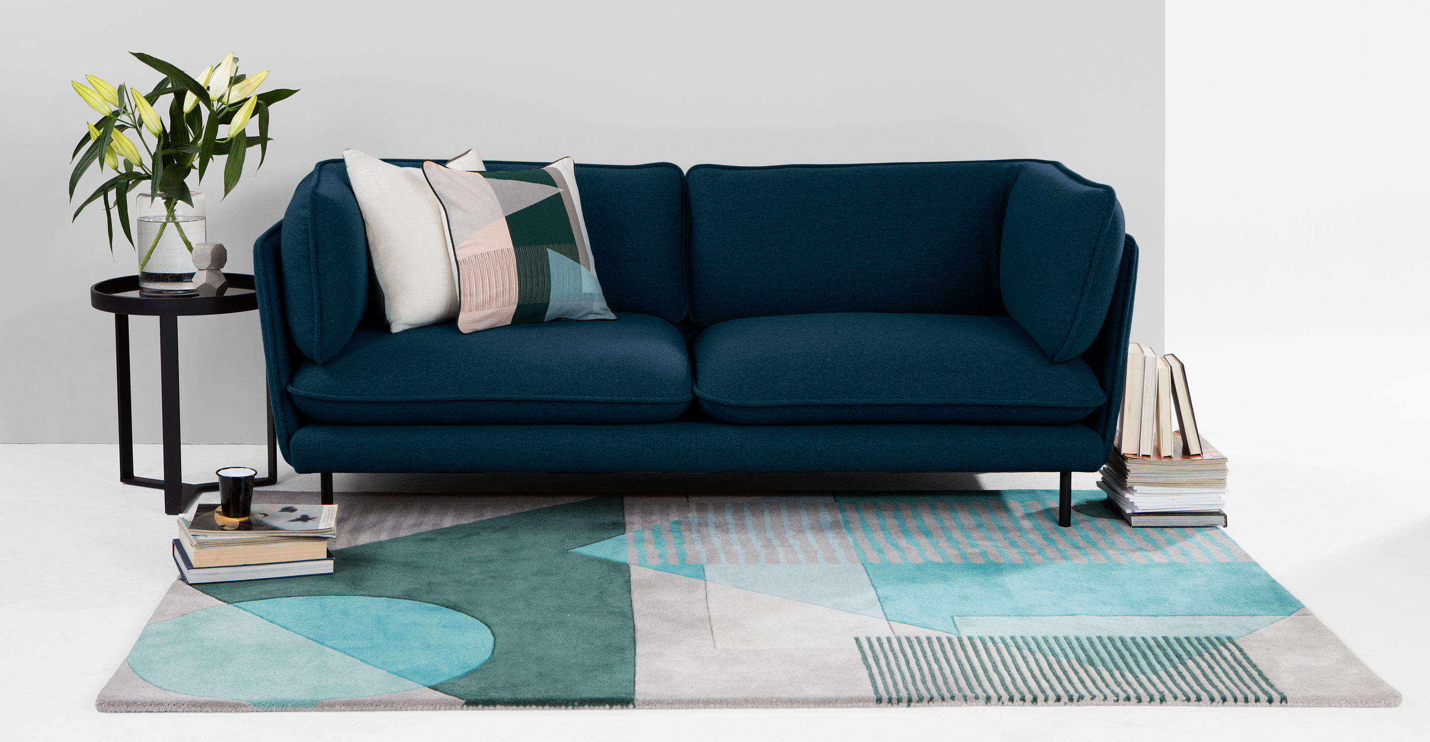 wes 3 seater sofa petrol teal