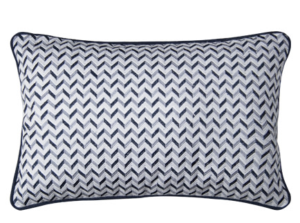 Sanremo Embroiderd Cushion 30 X 45cm Blue And Grey Made Com