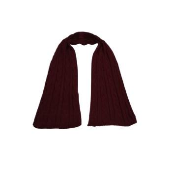 Cachecol Unissex Liso - Lã - Vinho - tricot