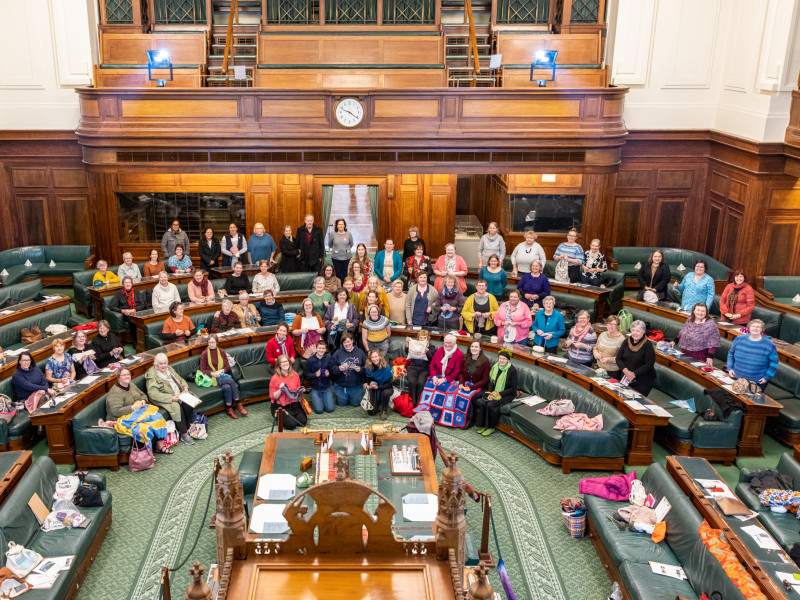 Knitters and crocheters make history and warm hearts during a cold Canberra winter