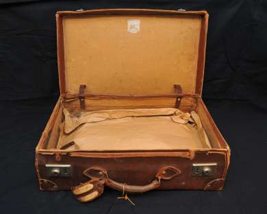 Inside of a suitcase used by Ben Chifley