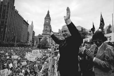 Gough Whitlam addressing a political rally in Melbourne City Square, 1975