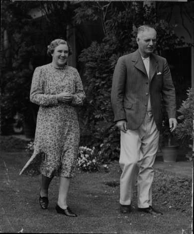 John and Elsie Curtin at The Lodge, Canberra, 1942.