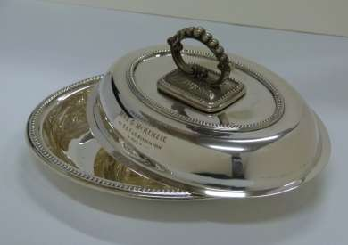 Silver Entree Dish presented to Ben Chifley's parents-in-law for union service