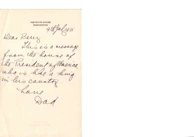 Postcard from Joe Lyons to son Barry from the White House, 9 July 1935