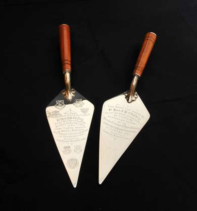 Trowels  presented to Ben Chifley on the occasion of the laying of the foundation stones for the ANU in 1949.
