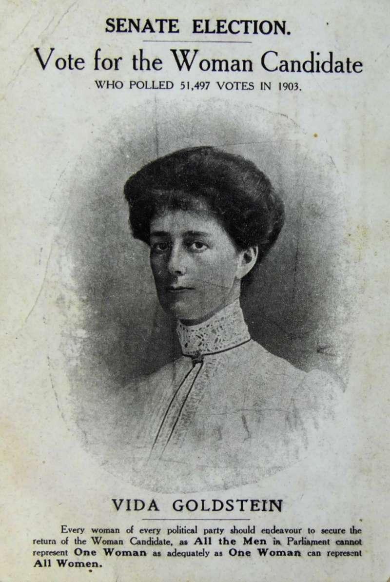 Vida Goldstein's 1910 campaign postcard. Museum of Australian Democracy Collection.