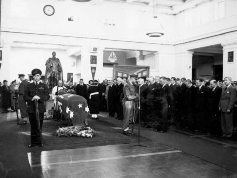 Prime Minster Ben Chifley Laid to rest in Kings Hall 1951