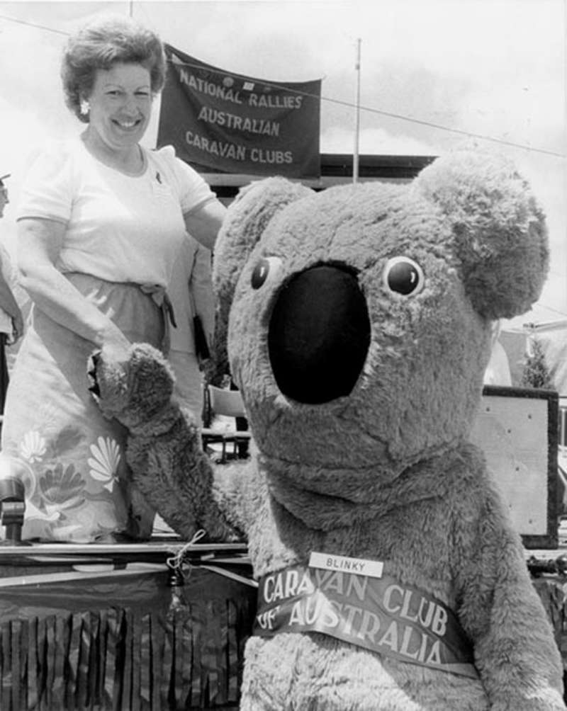 Senator Margaret Reid meets 'Blinky' at one of her many public engagements, 1983.