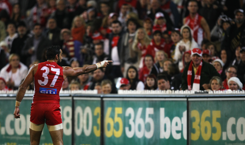 Adam Goodes attracted controversy by pointing to a young Collingwood supporter he believed had made a racial slur. The act led to discussions around racism in sport and Australian culture, as well as to criticism of Goodes and his place in Australian football. Andrew White/AFL Media.