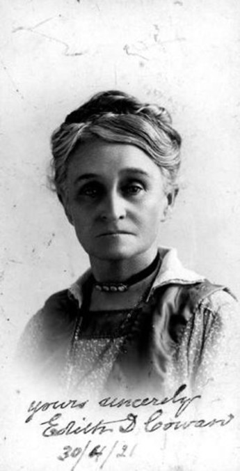 Australia's first female parliamentarian, Edith Cowan, was elected to the Western Australian state parliament on 12 March, 1921. Image courtesy of the J. S. Battye Library, State Library of Western Australia.