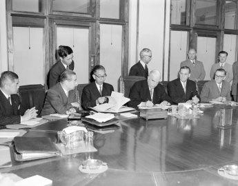 The Japanese Prime Minister, Nobusuke Kishi, with his Australian counterpart Robert Menzies and Trade Minister John McEwen, December 1957. Kishe's grandson, Shinzo Abe, is the present Japanese Prime Minister. Image: National Archives of Australia.