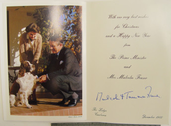 Droopy the dog featuring on the Frasers' Christmas card, December 1980. MoAD Collection