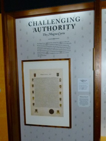 The museum displays a reproduction of the 1215 Magna Carta, from the collection of Jim Killen, in its Designing Democracy gallery. Museum of Australian Democracy collection