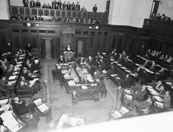 House of Representatives in session, 1962. National Archives of Australia A1200, L41478.