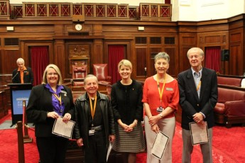 Natasha Stott Despoja with the volunteers recently recognised for their 10 years of service.