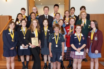 Minister Hon Luke Hartsuyker MP with the state, territory and special category winners of the 2015 National History Challenge at Australian Parliament House.