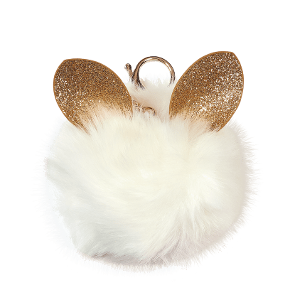Picture of Glitter Ears Furry Pom-Pom Clip White