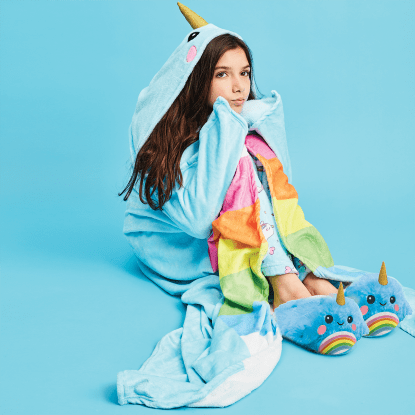 Picture of Rainbow Narwhal Hooded Blanket