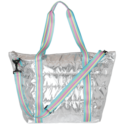 Picture of Silver Rainbow Puffer Weekender Bag