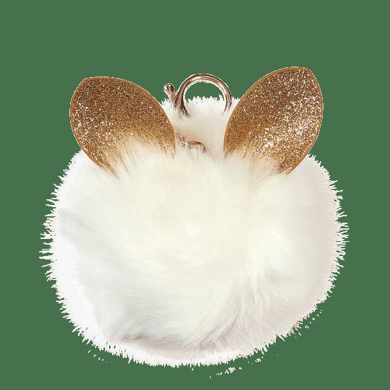 Picture of Glitter Ears Furry Pom-Pom Clip White