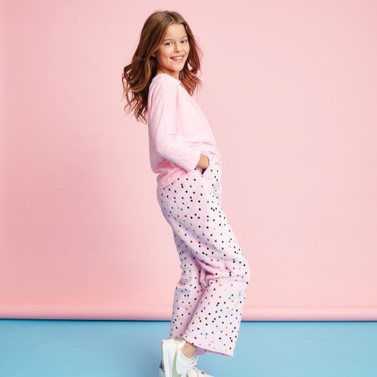 Picture of Colorful Foil Hearts Plush Pants