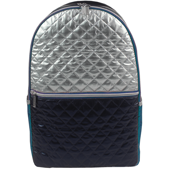 Picture of Silver and Blue Metallic Quilted Backpack