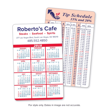 Picture of Calendar and Information Panel Wallet Cards
