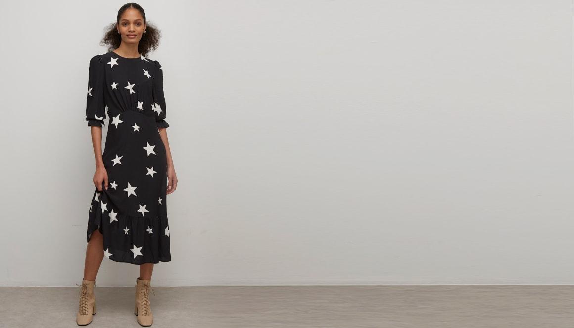 Livaeco By Birla Cellulose Tm Black And White Star Selena Midi Dress