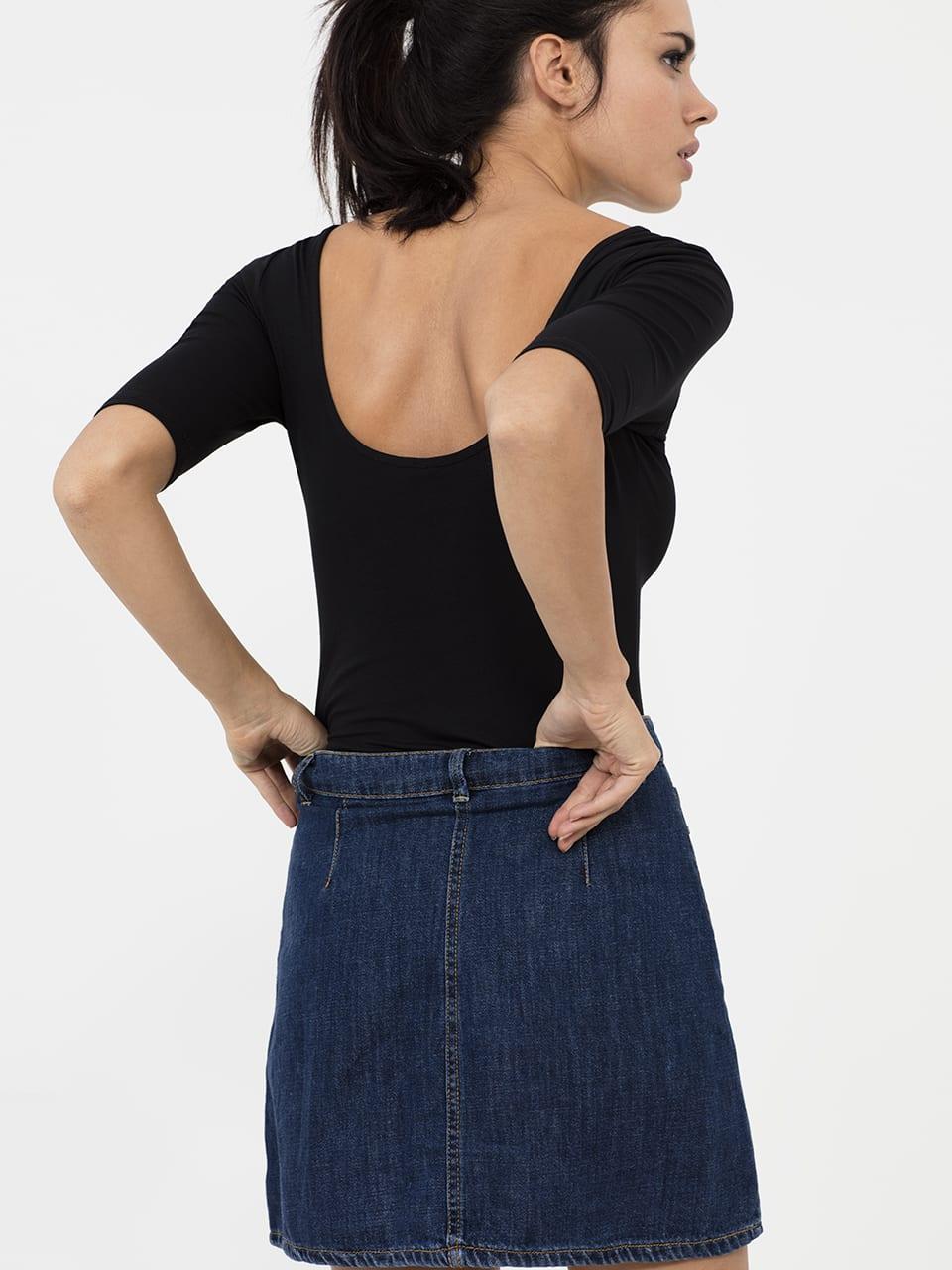 BLACK Scoop Neck Half Sleeve Body Suit