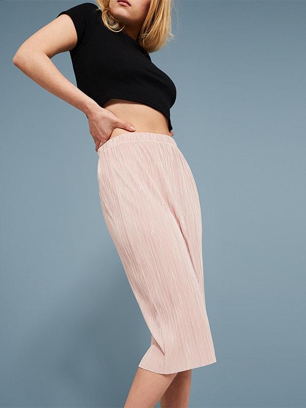 Pink Pleated Pencil Midi Skirt