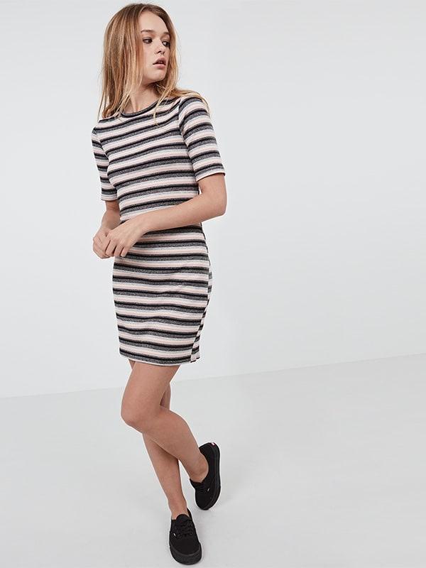 pink Lurex stripe tshirt dress
