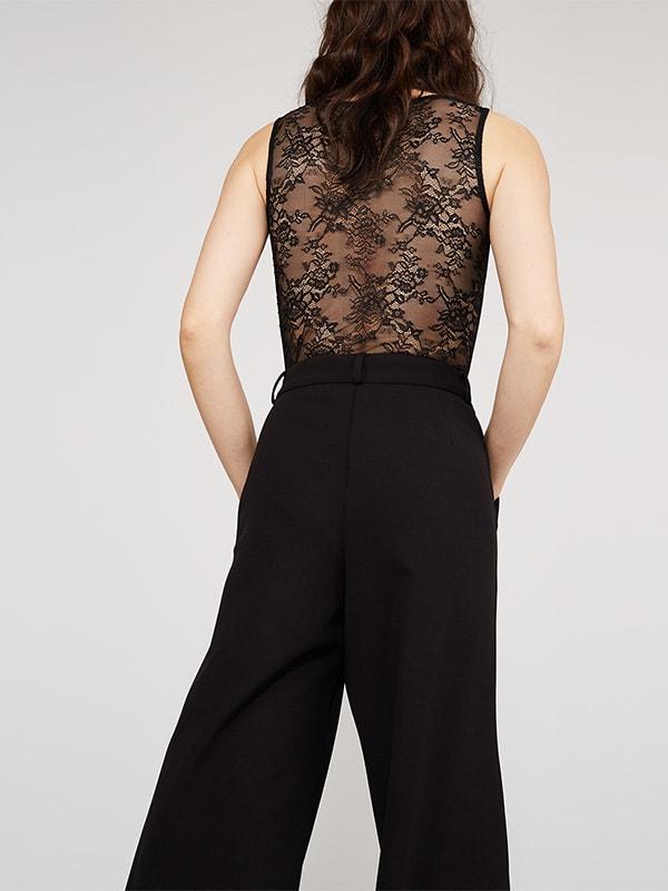 Black Lace Insert Sleeveless Bodysuit
