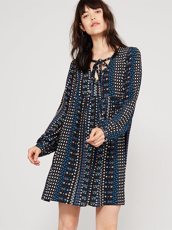 Black brooke flower mini dress