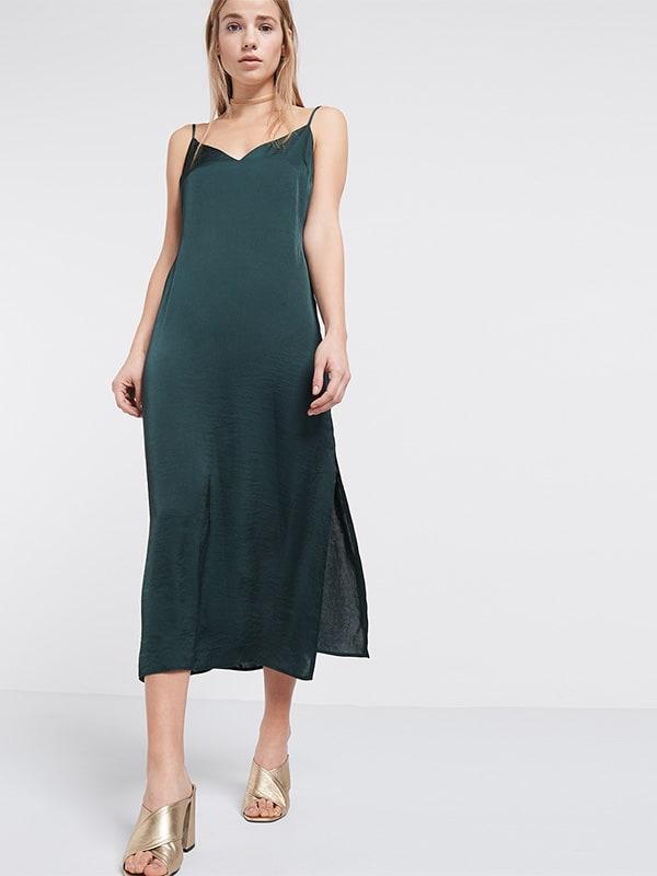 Green Satin Midi Slip Dress