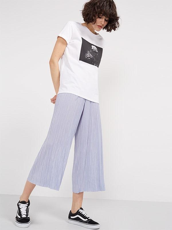 Lilac Plisse Wide Leg Culottes