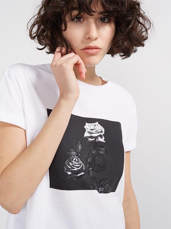 White Mono Rose Print Tee
