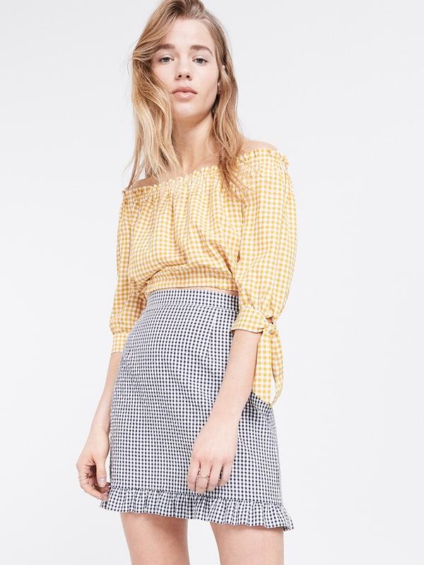 Navy Gingham Seersucker Frill Mini Skirt