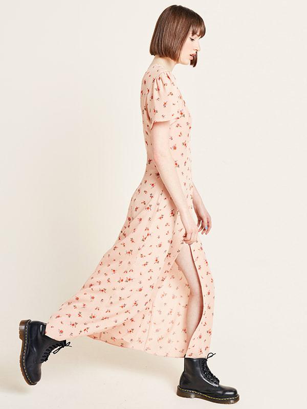 Pink Floral Ditsy Print Leana Maxi Dress
