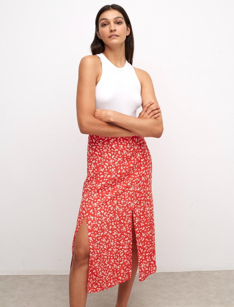 Lenzing Ecovero Red and White Ditsy Sara Midi Skirt