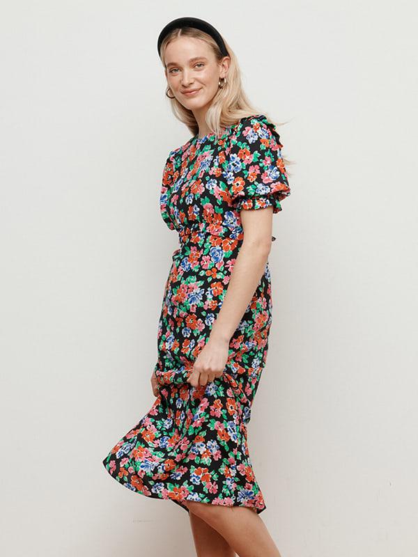 LENZING TM ECOVERO TM Bright Floral Felicia Frill Midi Dress