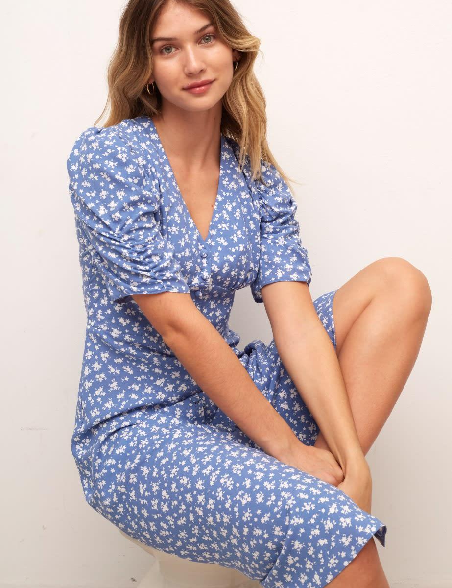 Blue and White Ditsy Poppy Midi Dress