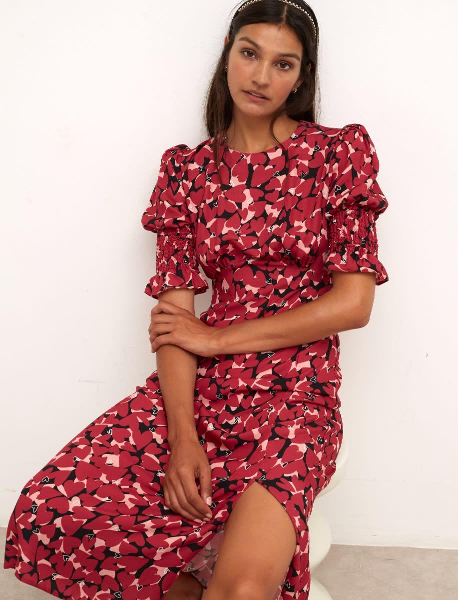 Lenzing Ecovero Pink Heart Luna Midi Dress