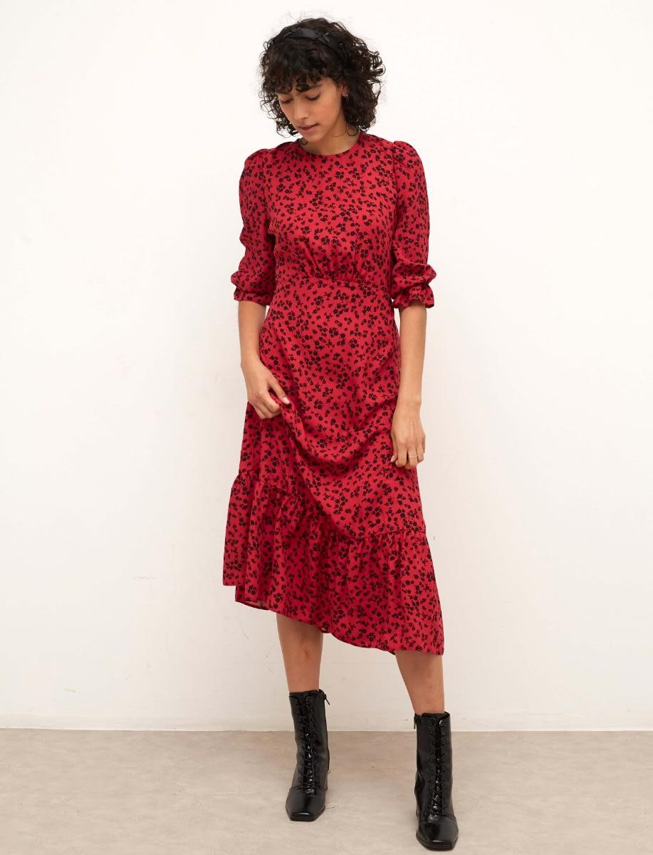 Lenzing Ecovero Burgundy Ditsy Selena Midi Dress